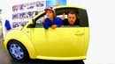 Driving in My Car Song Ride on Yellow VW Beetle at Children's Museum Pretend Play Mechanic
