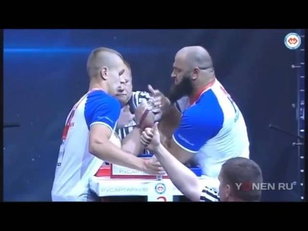 Amazing arm wrestling match! 70 kg ukrainian wins vs 110kg muslim