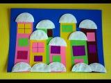Зимний город. Поделки в детский сад на новый год. Аппликация из бумаги и ватных д ...