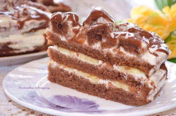 Торт шоколадный с бананом фото