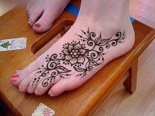 Easy henna on the foot Красивый и простой рисунок на