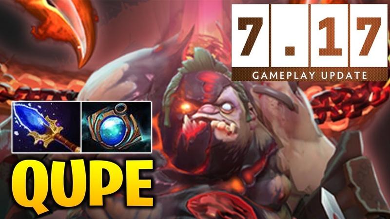 QUPE PUDGE Gameplay in Dota 7.17 - RAGE BUY BACK GG