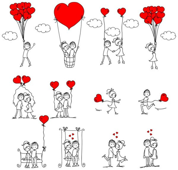 любовь,графика,девочки,мальчики, сердечки, воздущный шар, качели