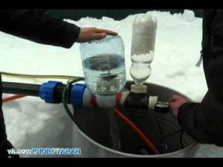 Третьи лабораторно-полевые испытания водяного насоса Гидротарана 11.03.2014