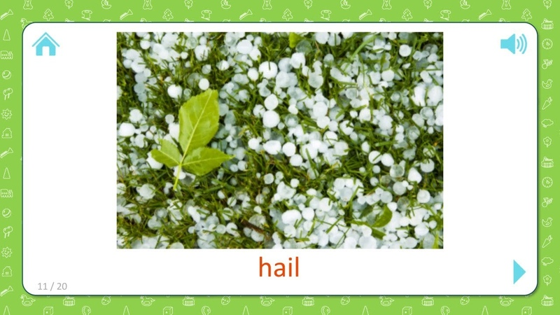 Hail - Weather And Seasons - Flashcards for Kids