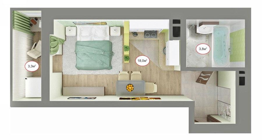 Концепт квартиры-студии 24-25 м от компании ЮгСтройИнвест, Краснодар.