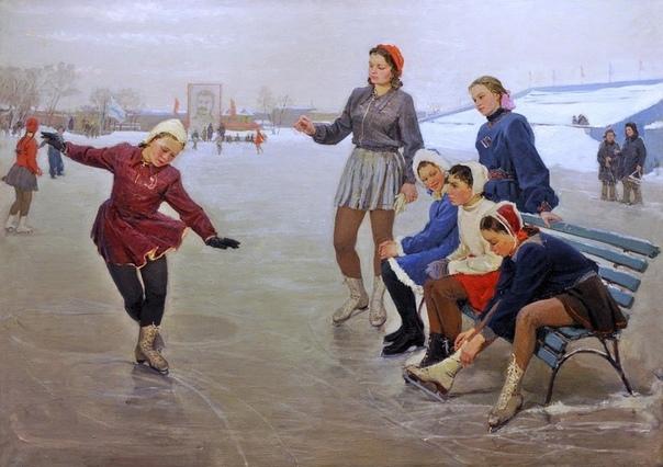 Картина «Юные фигуристки», 1950 год.