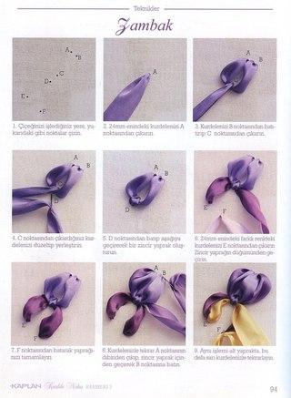 Вышивка лентами ириса