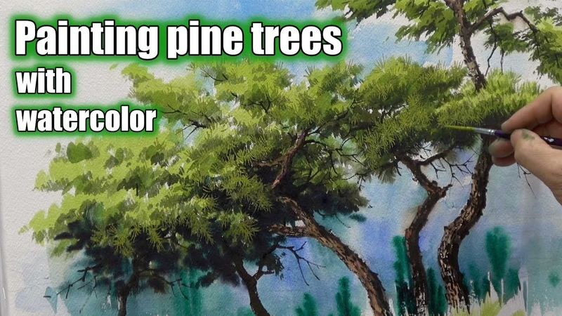 Watercolor painting process tutorial (speed painting) How to draw pine trees