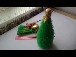 Как сделать елку из бутылки шампанского и фатина