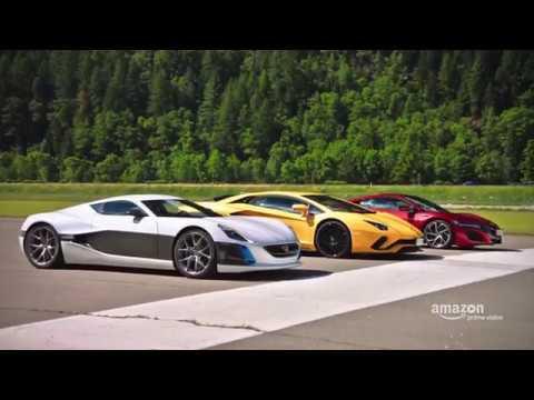 The Grand Tour Aventador, NSX, and Rimac Drag Race