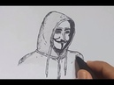 How to draw vendetta mask step by step