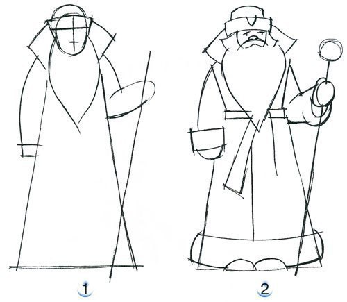 Учимся рисовать Деда Мороза!!