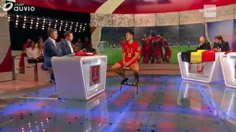 Голограмма Эдена Азара на бельгийском ТВ сразу после матча в Казани