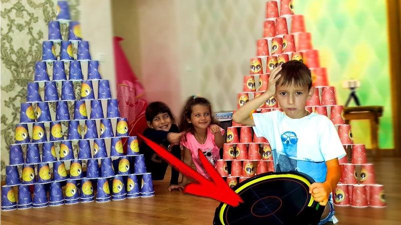 ПРОПАЛИ ВСЕ бейблейды или ГИГАНТСКАЯ ПИРАМИДА из Цветных стаканчиков / for kids