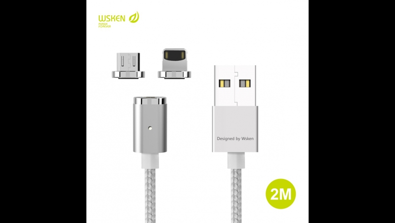 WSKEN Mini 2 Metal Magnetic Micro USB X-Cable Charge Cable For iPhone Samsung