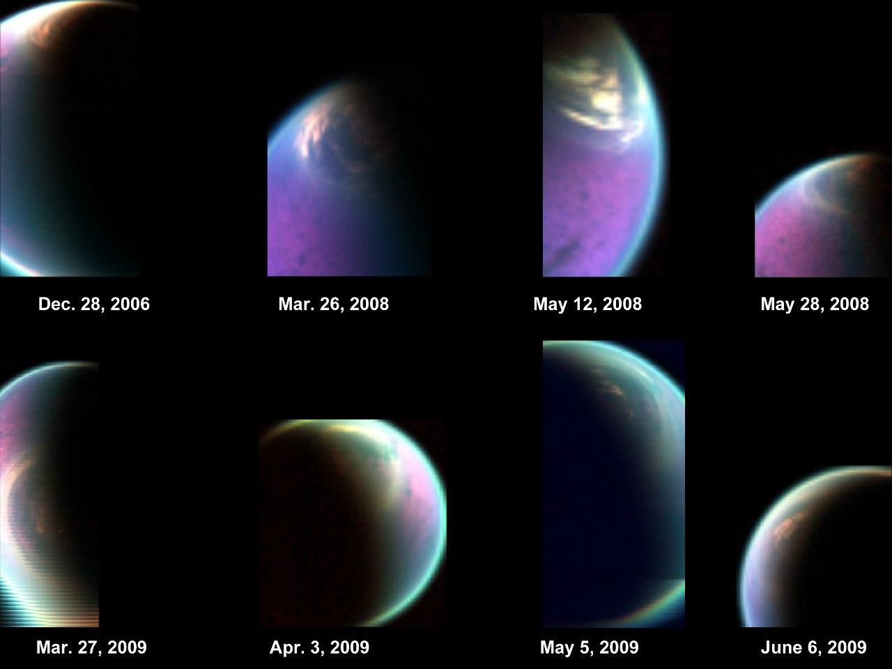 Облака у северного полюса Титана
