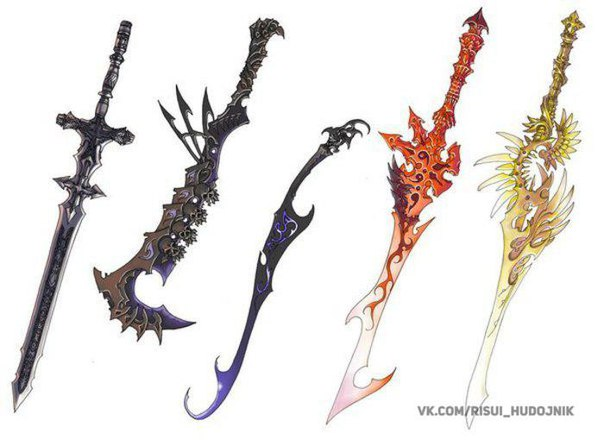Fantasy weapon drawings