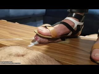 Four orgasms for flattened cock different sandals shoejob and final handjob tortures / foot fetish