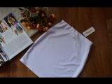 Обзор: серая трикотажная юбка мини, размер 42