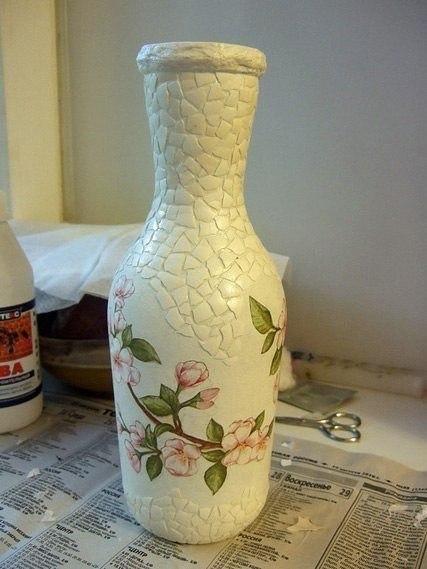 Декупаж из бутылки сделать вазу своими руками 86