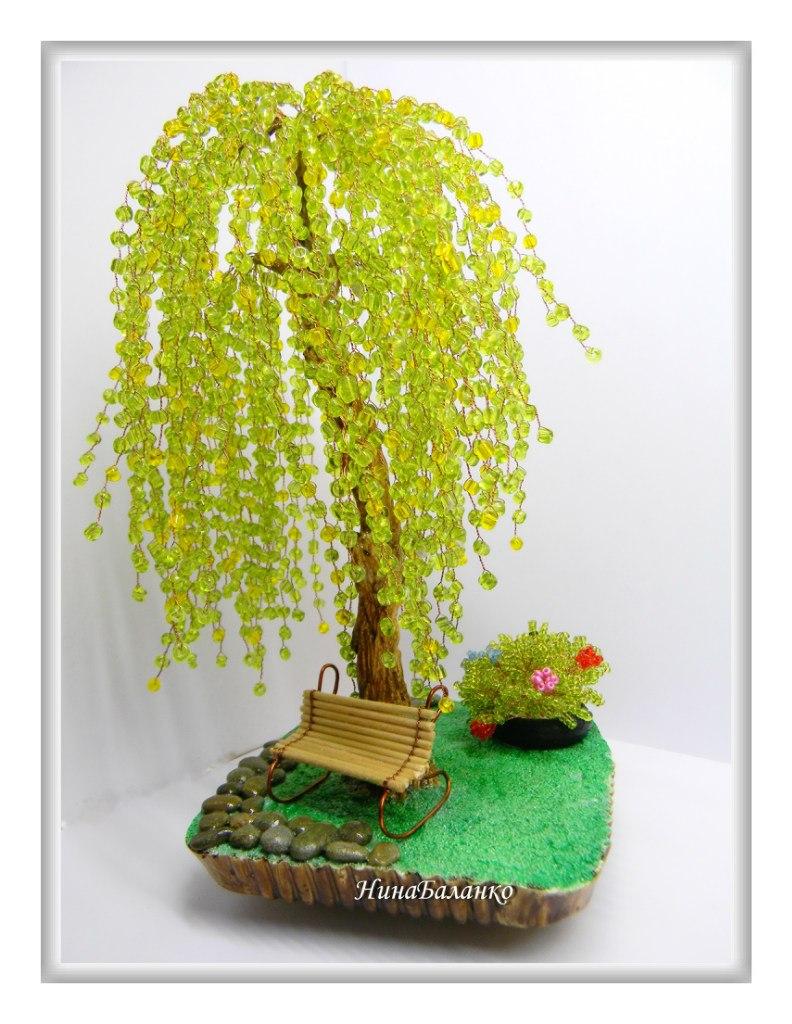 Дерево ивушка из бисера своими руками