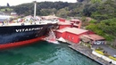 Ship crashes into Million Dollar Waterfront Mansion in Istanbul's Bosphorus Caught on Cameras !