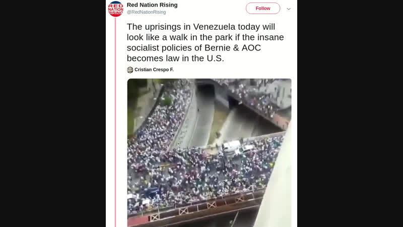 The uprisings in Venezuela today will look like a walk in the park if the insane socialist policies of Bernie AOC becomes law