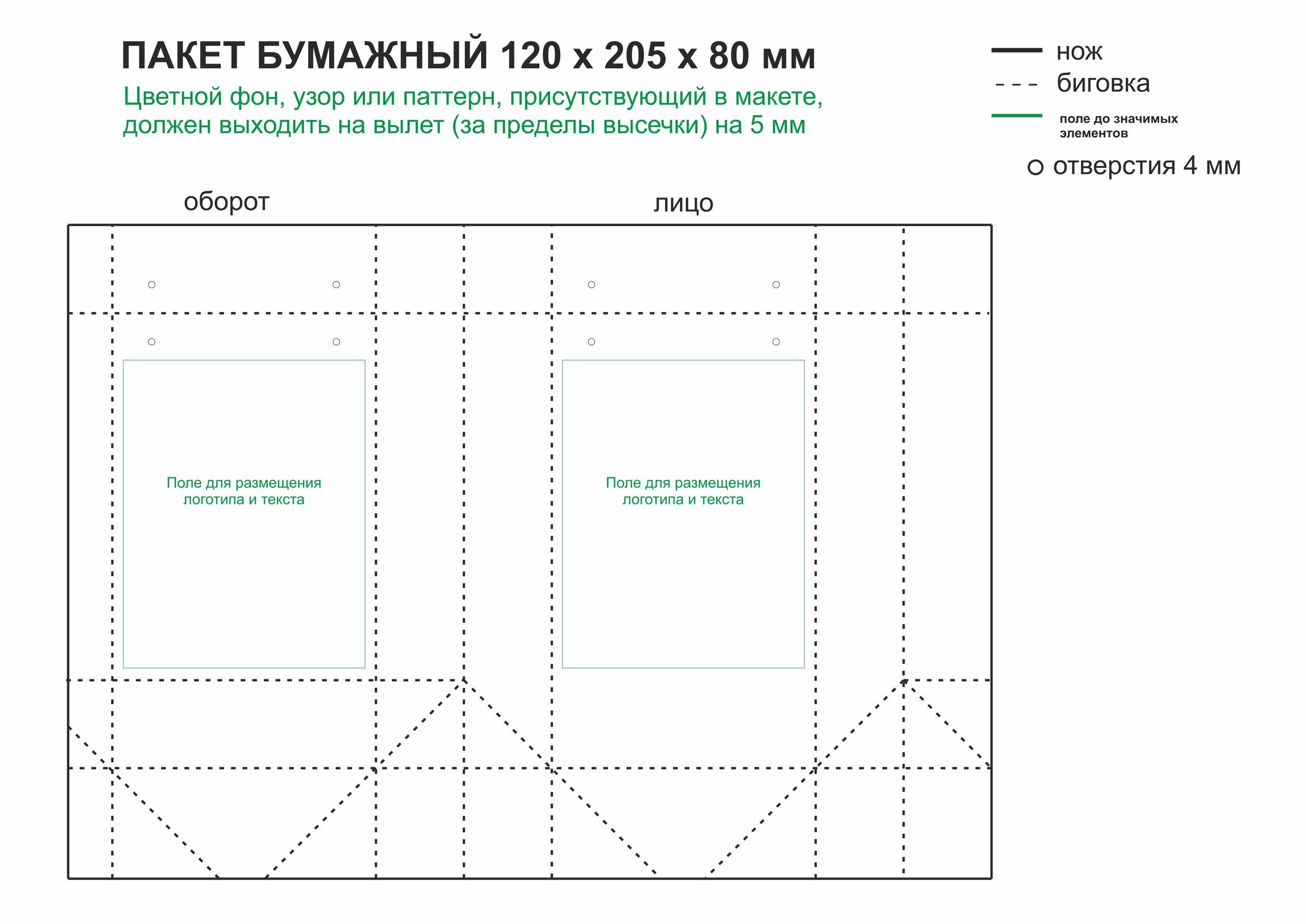 Требования к макету для печати на бумажных пакетах