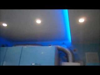 Подвесной потолок из сэндвич панелей ПВХ ( двух уровнивый, с подсветкой )