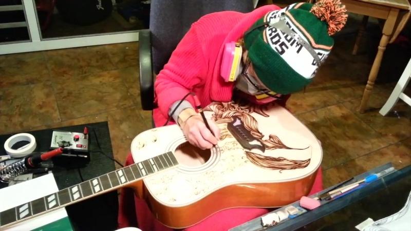 Выжигание на гитаре / Tom Petty Epiphone Dove acoustic guitar pyrography
