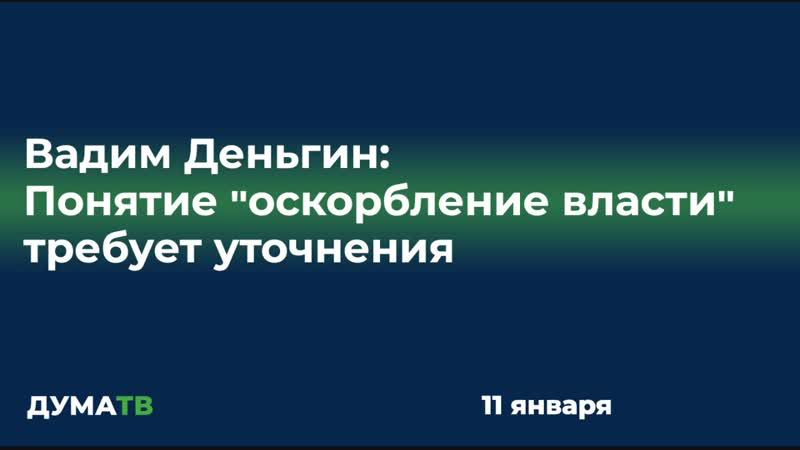 Вадим Деньгин Понятие оскорбление власти требует уточнения