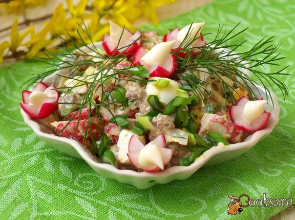 Мясной салат с редисом Сытный и вкусный салат с редисом,зеленью и варёной говядиной.Этот салат отличное дополнение к любому гарниру.