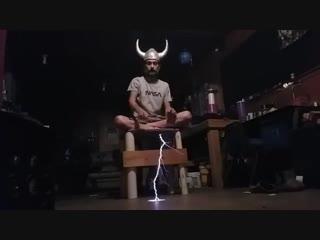 Funny Human Topload Tesla Coil experiment.