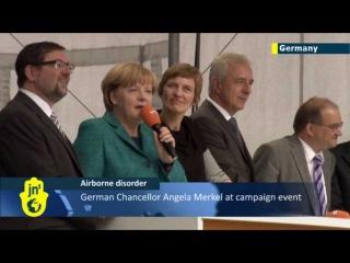Merkel's Dresden Drone Close Encounter: Drone crashes in front of German Chancellor Angela Merkel