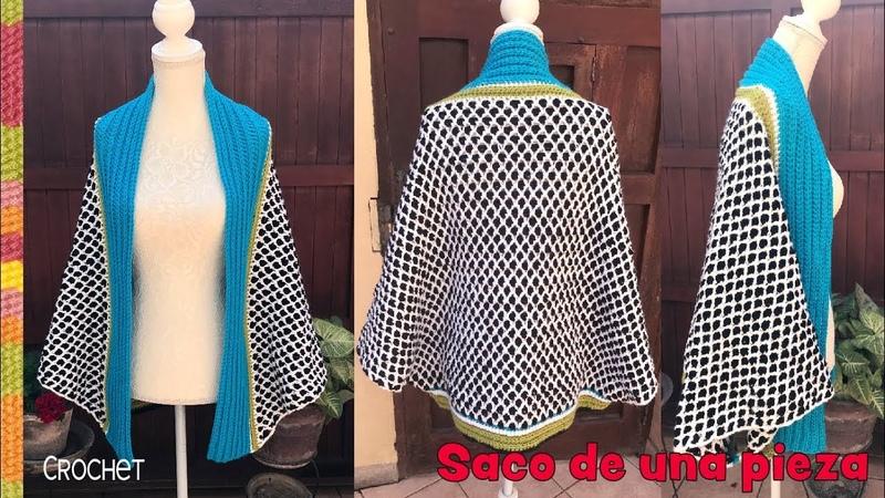 Saco de una pieza tejido a crochet en 4 tallas Tejiendo Perú