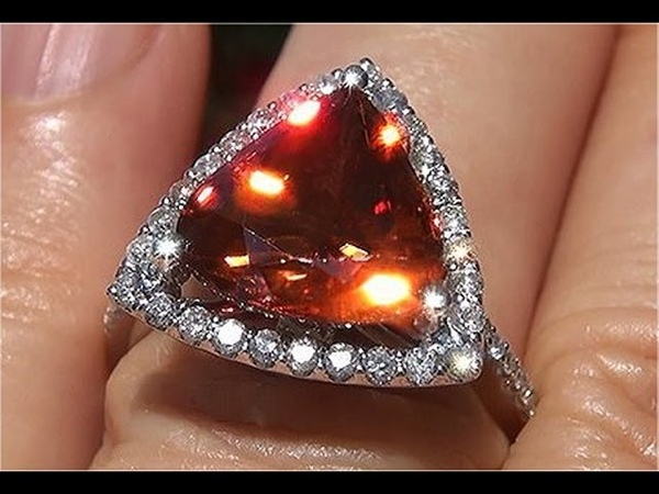 GIA Certified Natural VVS Orange Zircon Diamond 14k White Gold Cocktail Ring - C850