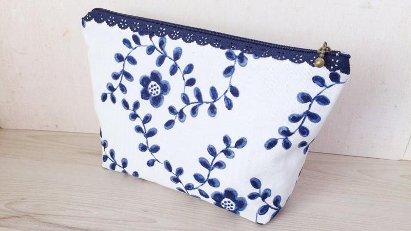 裏付きレースファスナーポーチの作り方★けーことん★ How to make a zip pouch with lace