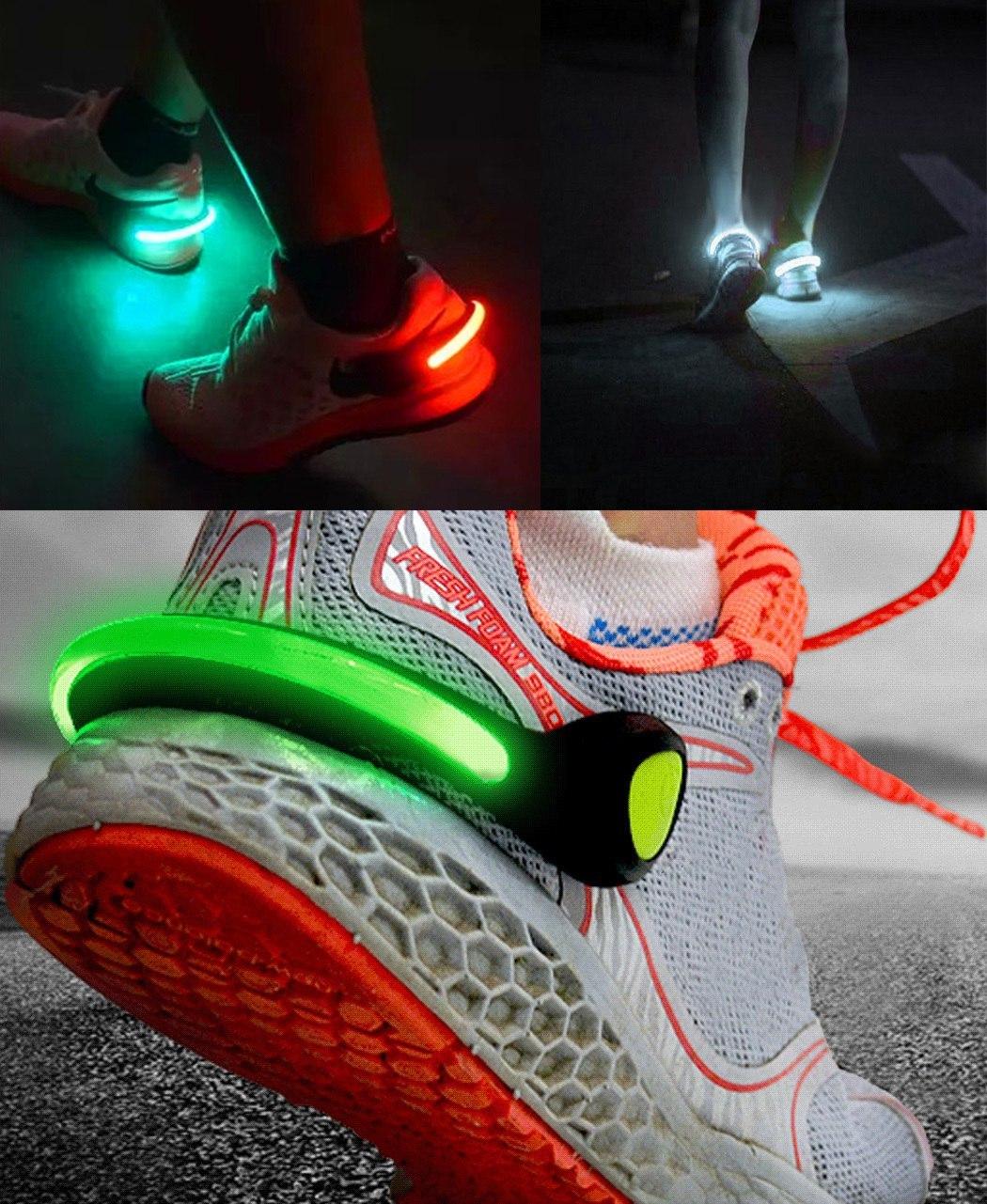 Светящиеся клипсы на обувь для велосипедистов бегунов и путешествующих пешком