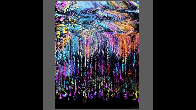 Fluid acrylics ,Exciting Half wavy half straight Swipe, wet cotton rag tool, 2849-5.25.18