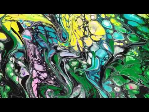 Fluid acrylic pour with swiping tutorial ~ impressionism of Natures Way of Complexity irmgardart