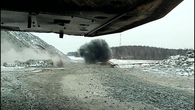 Дробление мерзлоты на Берёзовском карьере 26.02.18 г.