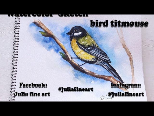 Bird titmouse || sketch || Julia fine art