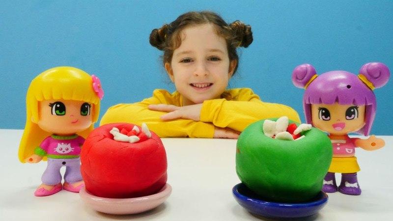 Play-Doh hamur oyunları. Pinypon için biber dolması