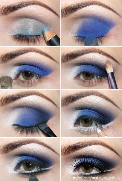 Вечерний макияж для серо голубых глаз стразы