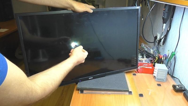 Тёмное изображение / Нет подсветки на телевизоре BBK 32LEM-3081/T2C (РЕМОНТ)