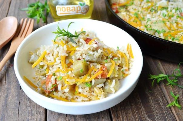 Рис с перцем и баклажанами
