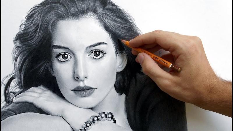 Портрет Энн Хэтэуэй карандашом (Anne Hathaway - portrait drawing video).