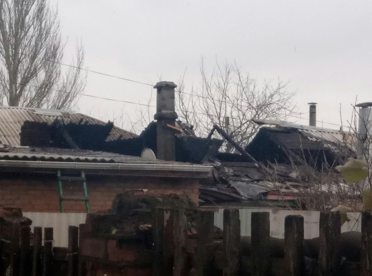 В Таганроге на улице Р. Люксембург горел жилой дом