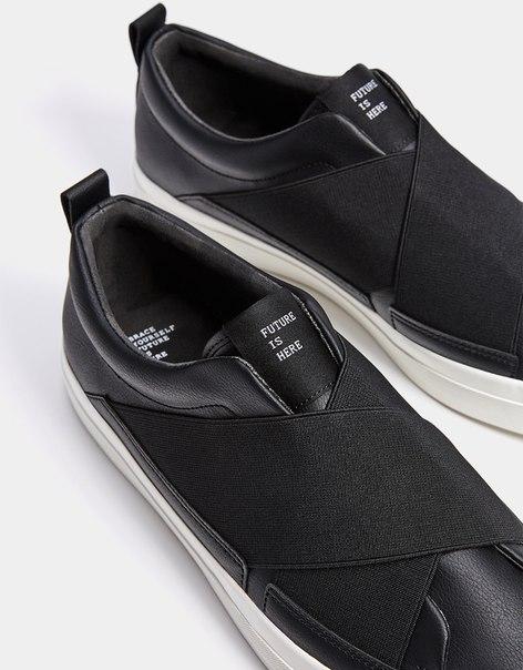 Мужские кроссовки без шнуровки, с эластичными деталями